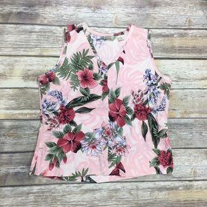 {Tommy Bahama} 100% Silk Floral Tank Top Sz M